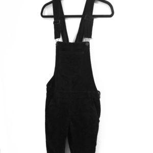 Black corduroy overalls